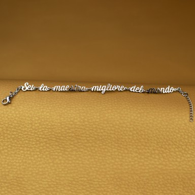 "Bracelet ""You are the best teacher in the world"" in stainless steel"
