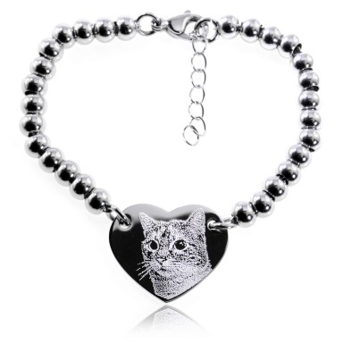 Heart Bead Bracelet with photo in stainless steel