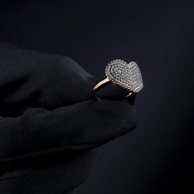 Anello cuore pavè zirconi neri argento 925