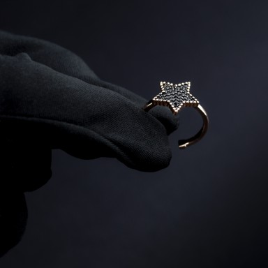 Ring star pavè black zircons 925 silver adjustable