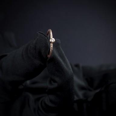 Anello solitario in argento 925 placcato oro rosa