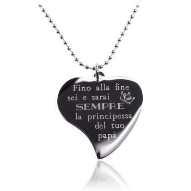 """Collana """"principessa del papà"""" acciaio inox"""