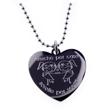 """Necklace """"Friends by chance sisters for choice"""" stainless steel"""
