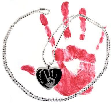 Collana con impronta bambino in acciaio inox