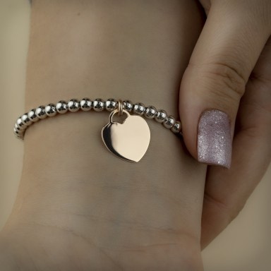 Bracelet with balls medium size and heart in 925 silver