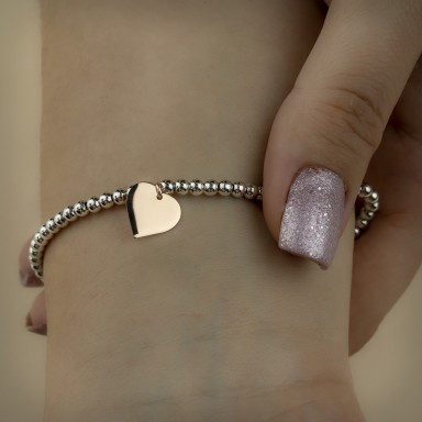 Bracelet with balls and little heart in 925 silver