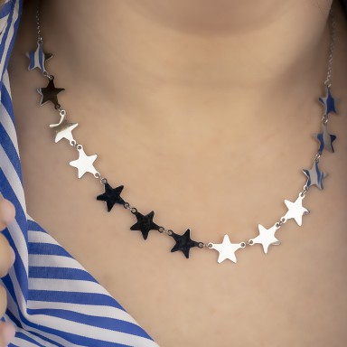 Necklace with joined stars NEVADA model in stainless steel