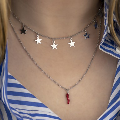 Two wire necklace with hanging STARS and corn in stainless steel COLORADO model
