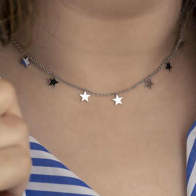 Necklace with hanging stars model ALASKA in stainless steel