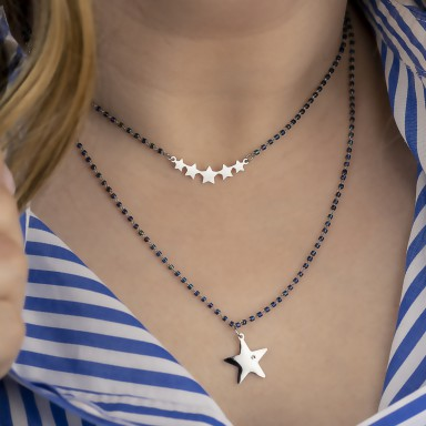 Two-wire necklace with star pendant model DAKOTA in stainless steel