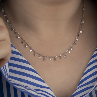 copy of 925 silver necklace with micro stars and hanging black stones