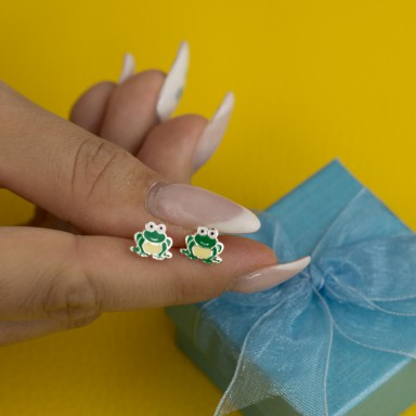 Pair of frog earrings in 925 silver