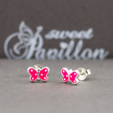 Pair of fuchsia butterfly earrings in 925 silver