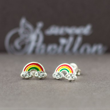 Pair of rainbow crystal lobe earrings in 925 silver