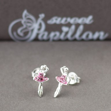Pair of pink ballerina earrings with cubic zirconia in 925 silver