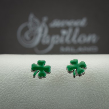 Pair of micro four-leaf clover earrings in stainless steel