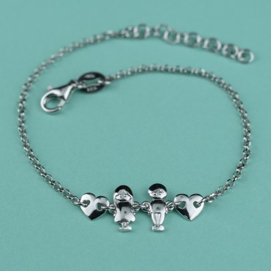 Boy and girl bracelet in rhodium finish 925 silver