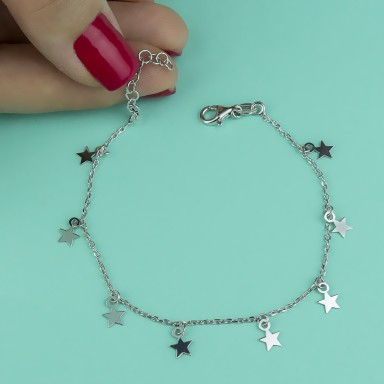 Micro-stars bracelet in rhodium-finished 925 silver
