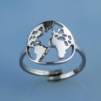 Anello mondo grande regolabile in acciaio inox