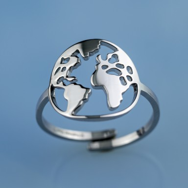 Worldmap big adjustable ring in staineless steel