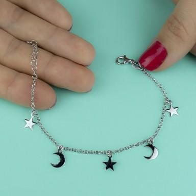 Bracciale con stelle e lune pendenti in argento 925 rodiato