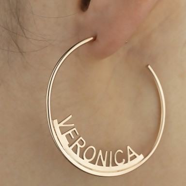 Single hoop earring with name in rose gold plated 925 silver
