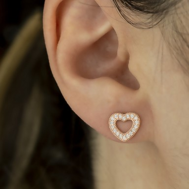 Single earring Rose gold plated 925 silver heart with white zircons