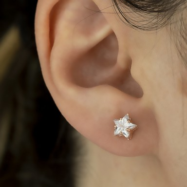 Single star earring in rose gold plated 925 silver with white zircon