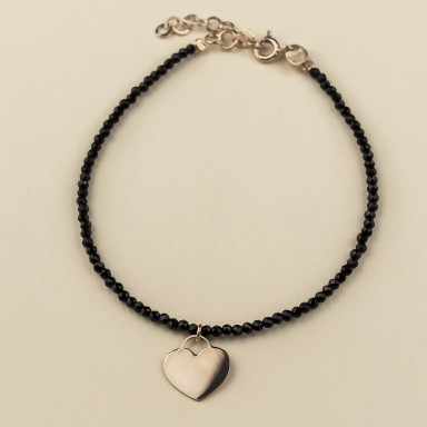 Bracelet with onyx crystals and pink gold plated 925 silver heart