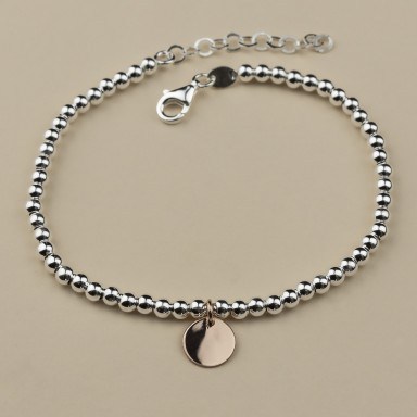 Bracelet with balls and mini round pendant in 925 silver