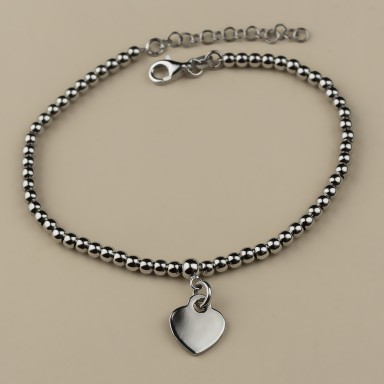 Bracelet with heart pendant and 0.2 cm balls in rhodium plated 925 silver