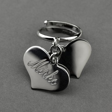 Anello regolabile con due cuori personalizzabili in argento 925 rodiato