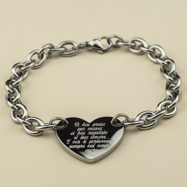 Bracelet for the teacher with a chained heart in stainless steel