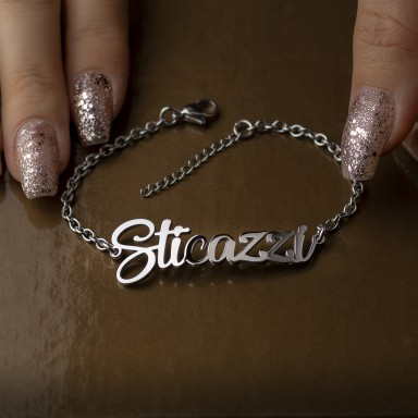 "Bracelet ""sticazzi"" woman in stainless steel"