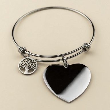 Rigid adjustable bracelet with tree of life pendant in stainless steel