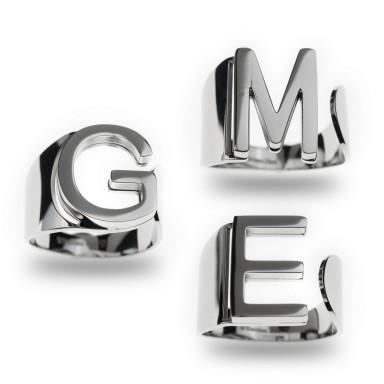 MONOGRAM adjustable ring in stainless steel
