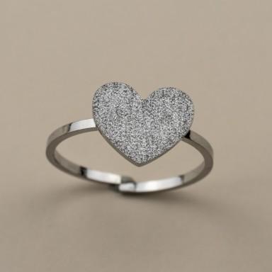 Anello regolabile cuore brillantinato in acciaio inox