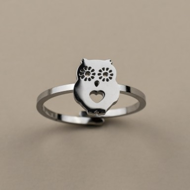 Adjustable stainless steel owl ring