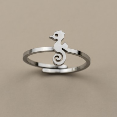 Adjustable stainless steel Seahorse ring
