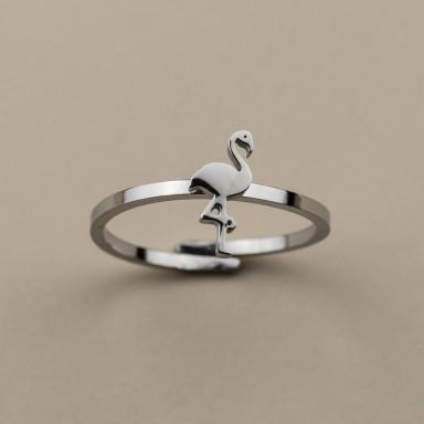 Anello regolabile con fenicottero in acciaio inox
