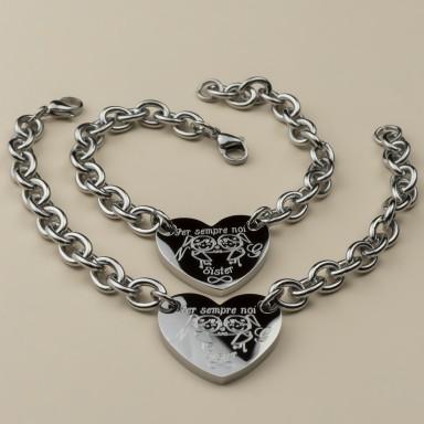 """Pair of """"Forever Sister"""" bracelets in stainless steel"""