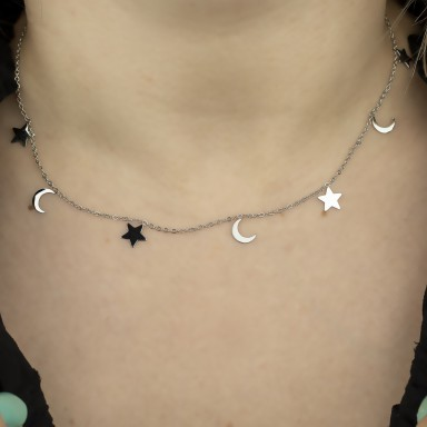 Necklace with stars and hanging moons RAGUSA model in stainless steel