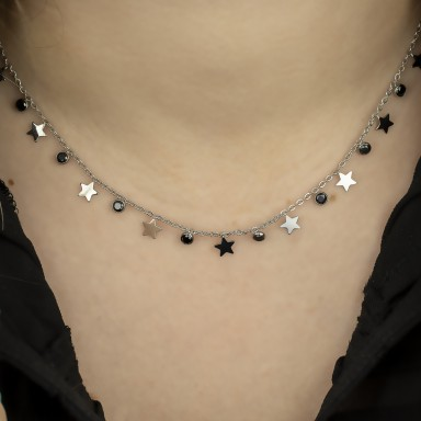 Necklace with stars and black crystals RECANATI model in stainless steel