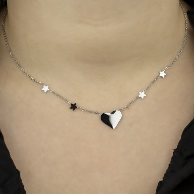 Necklace with stars and heart SONDRIO model in stainless steel