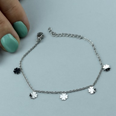 Micro four-leaf clover bracelet in stainless steel