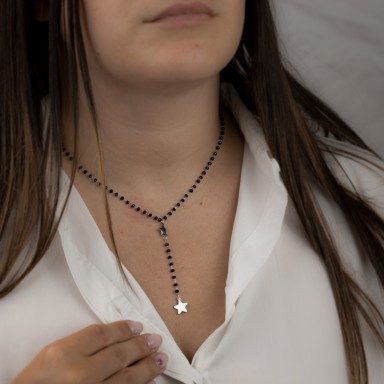 Rosary star necklace in steel with crystals VERONA model
