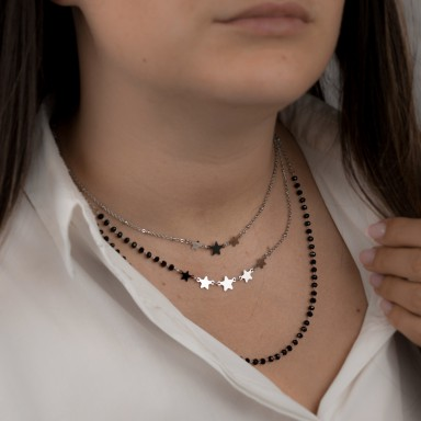 3-strand star and crystal necklace CAPRI model in stainless steel
