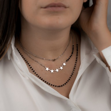 PONZA model 3 strand star and crystal necklace in stainless steel