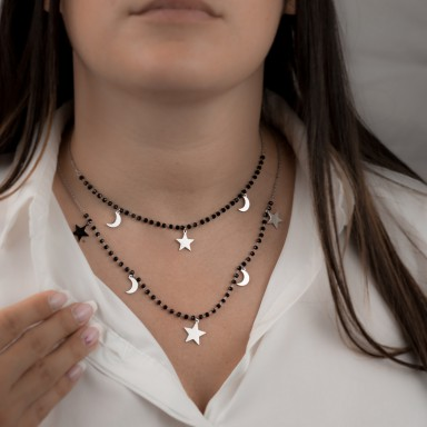 2-wire star and moon necklace with crystals GALLIPOLI model in stainless steel