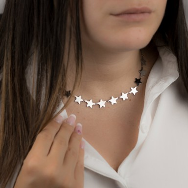 Necklace with joined stars LIVIGNO model in stainless steel